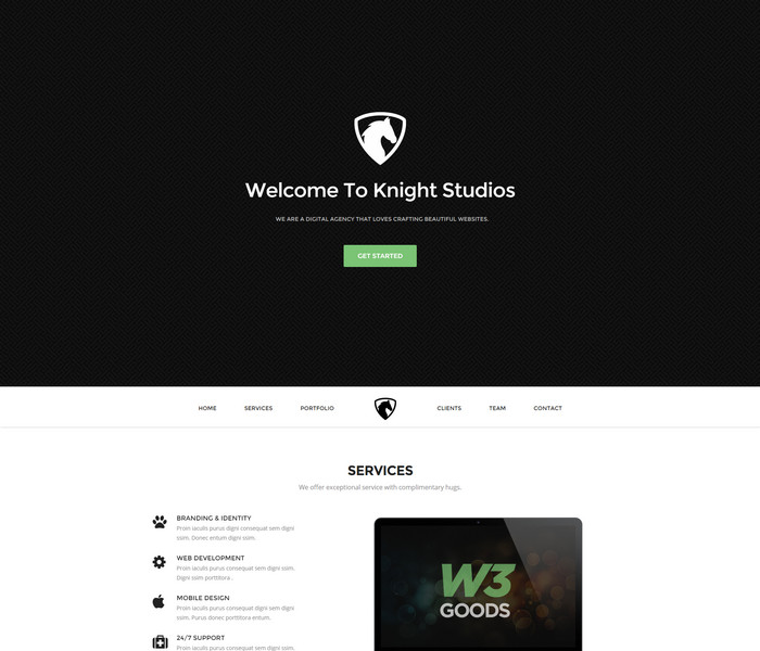 free business website template knight