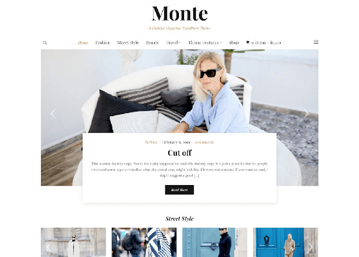 monte fashion clean simple wordpress theme