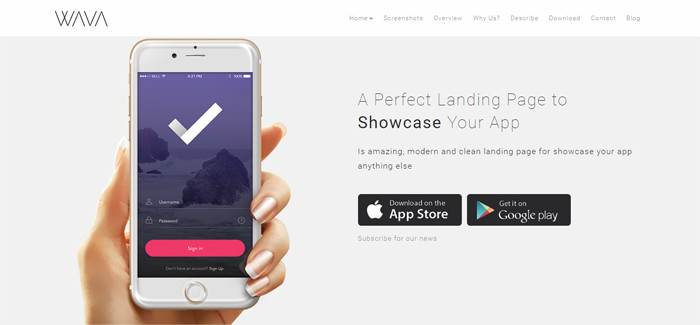 Landing Page WordPress Themes wava