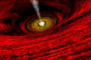 An artist's concept of matter swirling into a supermassive black hole.   REUTERS/NASA