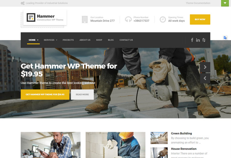 Hammer Construction WordPress Themes