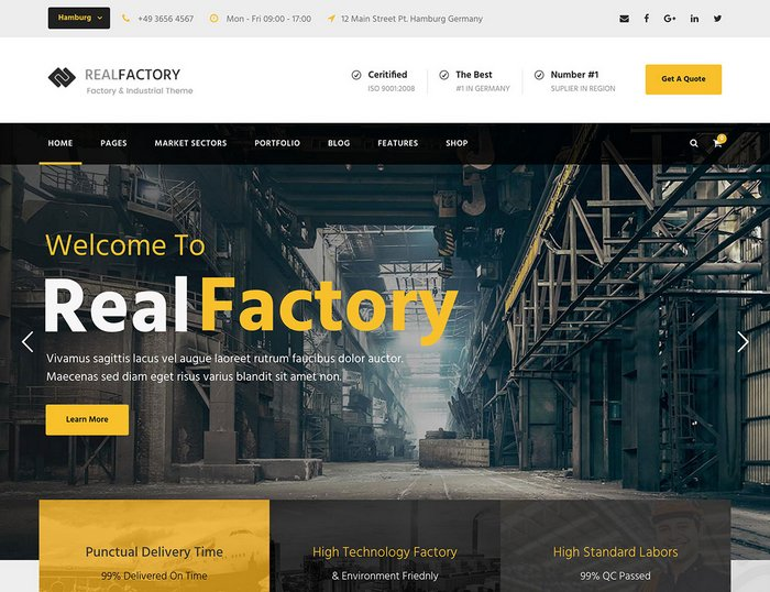 Real Factory Industrial WordPress Themes 2019