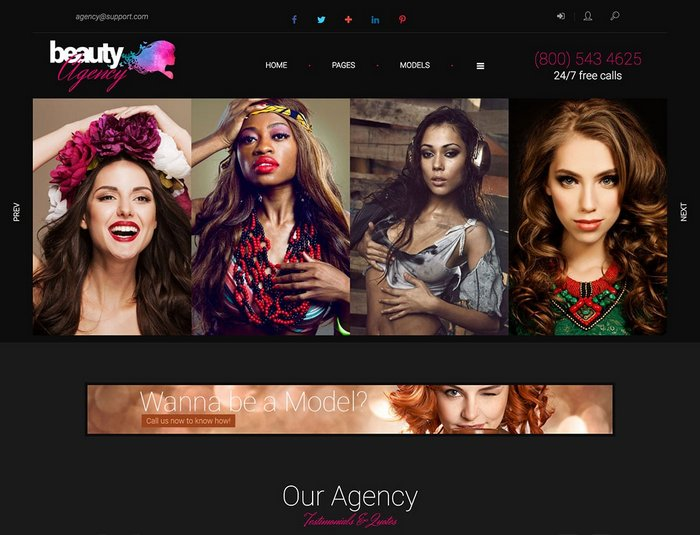 Models Agency WordPress Theme
