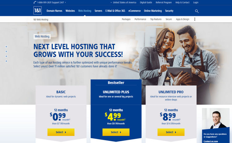 1and1 web hosting website