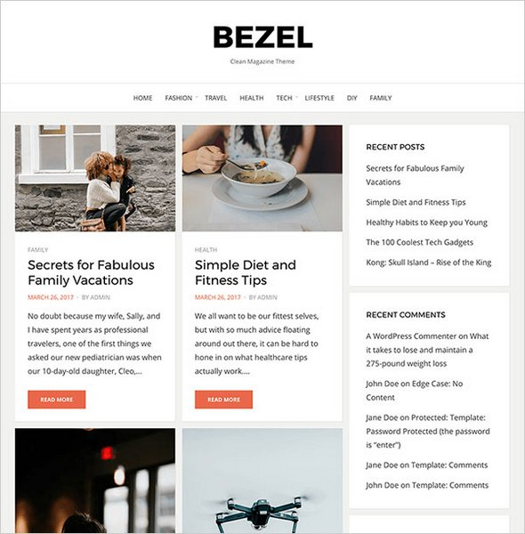 Bezel free blog magazine theme