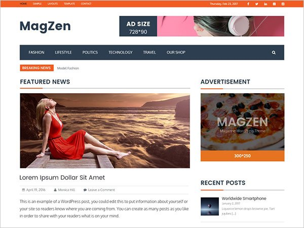 MagZen free responsive WordPress theme