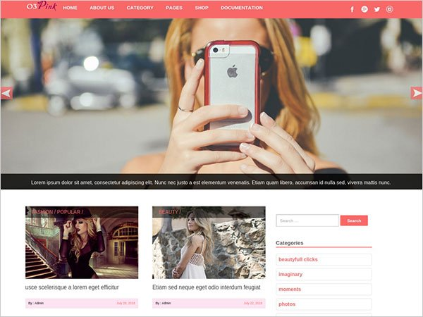 O3pink clean free WordPress blog theme