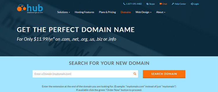 domain name registration web hosting hub