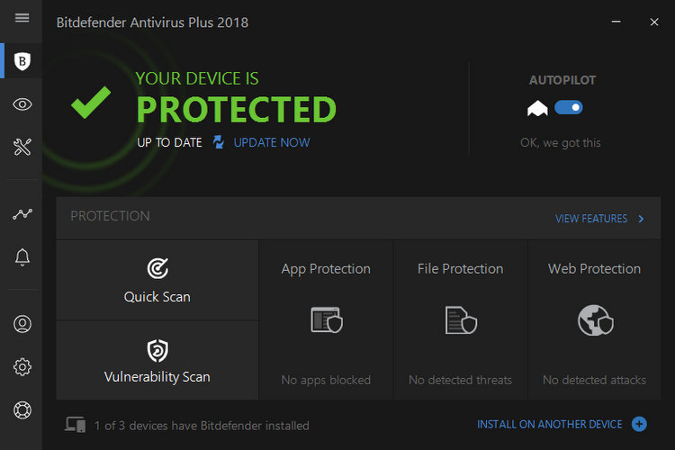 Bitdefender Antivirus Plus 2018 Main Window