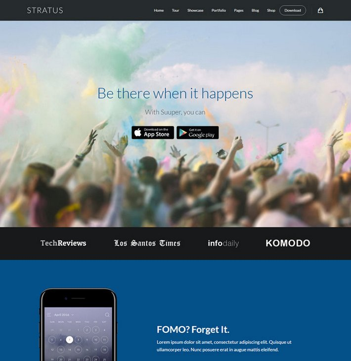 Mobile App Showcase WordPress Themes Stratus