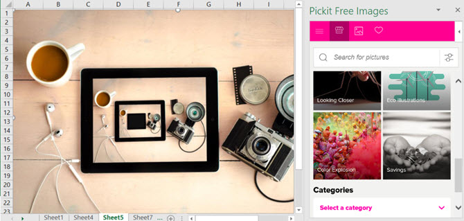 Pickit Free Images Spreadsheets Excel Add-in