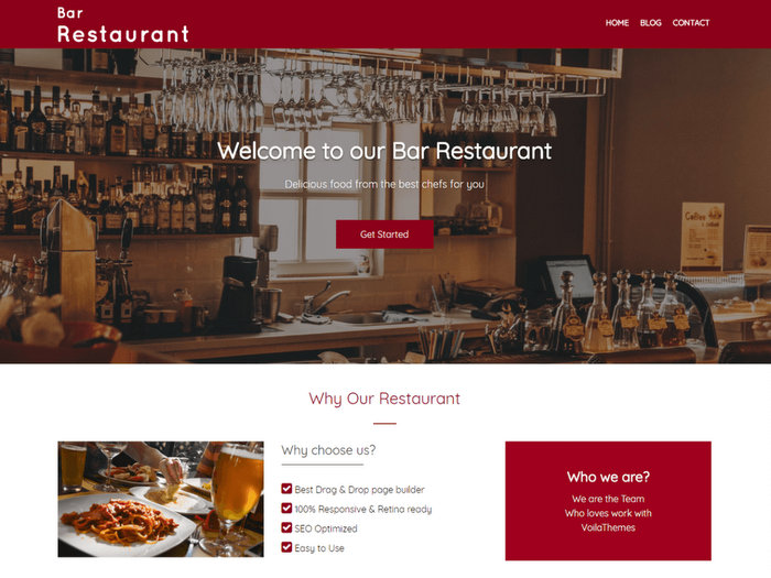 Bar Restaurant Free Restaurant WordPress Theme