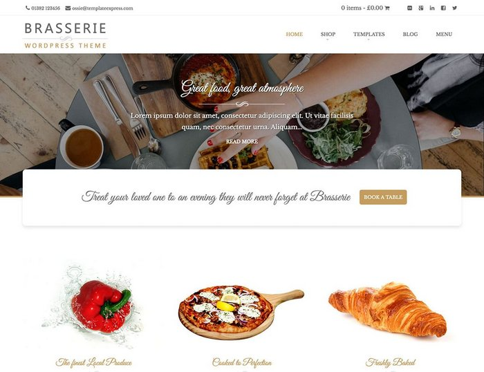 Brasserie Restaurant WordPress Theme