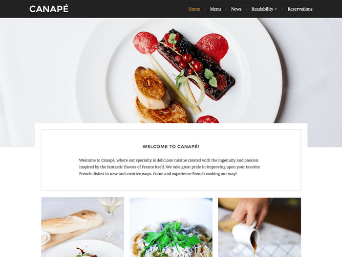 Canape Free Restaurant WordPress Theme