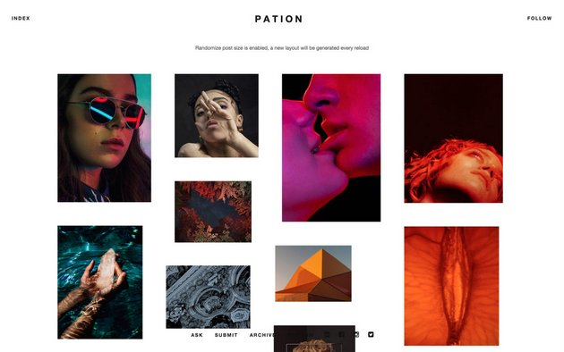 Pation Free Tumblr Grid Theme