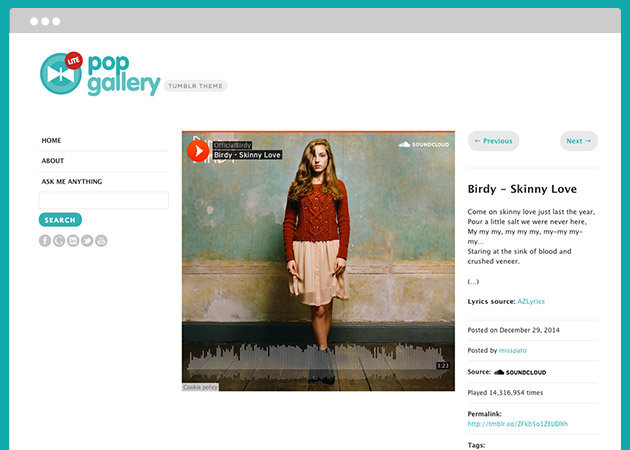 Pop Gallery Free Tumblr Theme