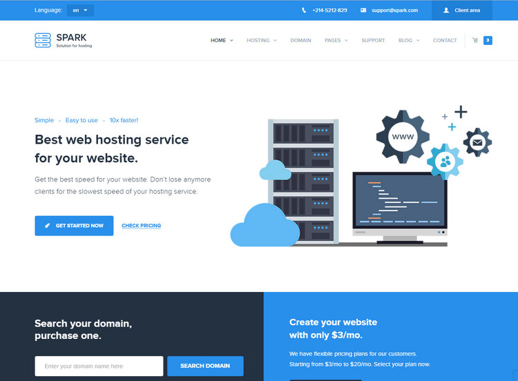 Spark WHMCS Hosting WordPress Theme