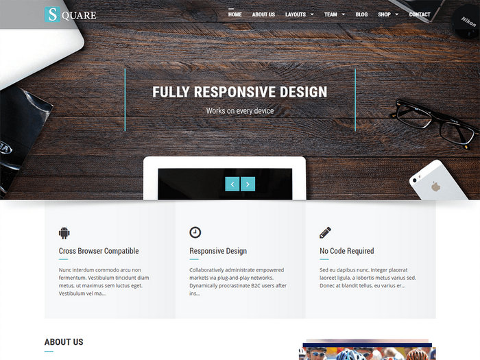 Square Free Minimal Portfolio WordPress Template