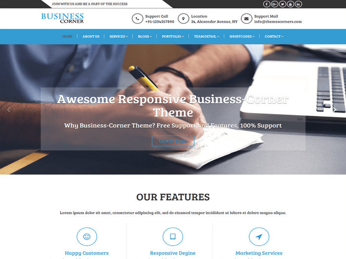 Business Corner Free WordPress Business Theme