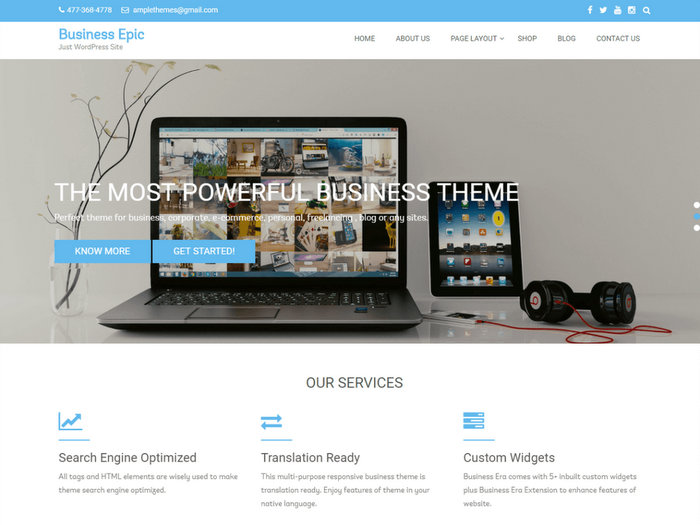 Business Epic Responsive Free WordPress Business Themes