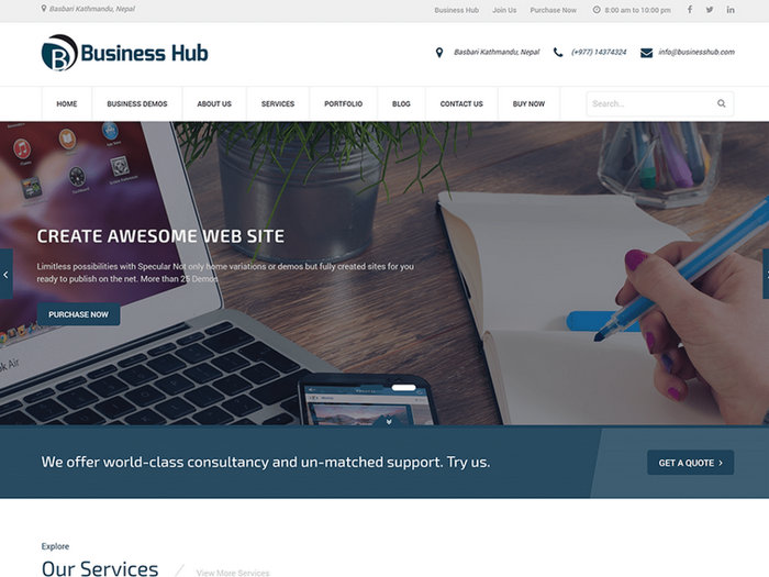 Business Hub Free WordPress Theme