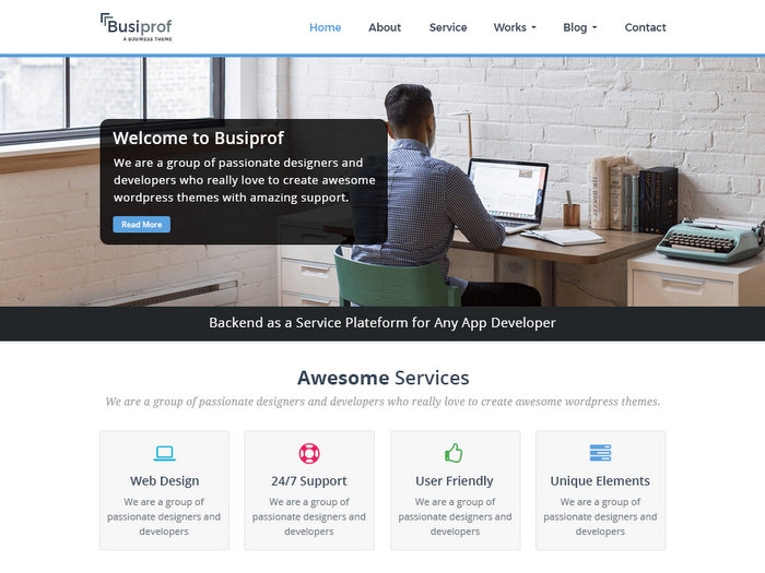 Busiprof Free Business WordPress Theme