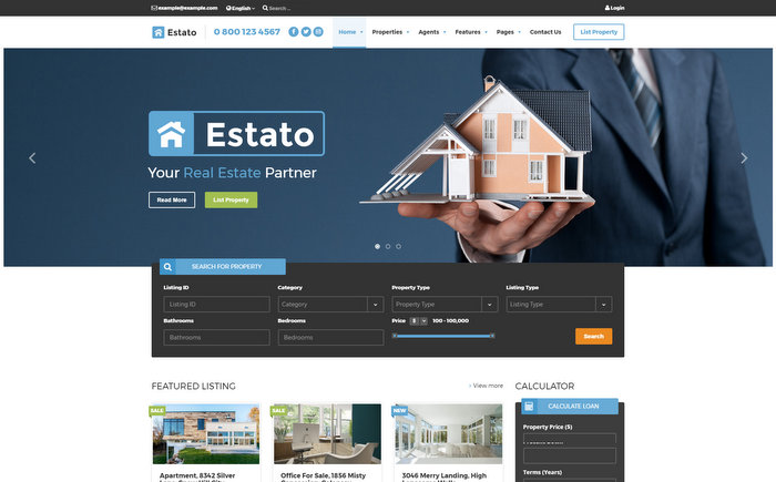 Estato Theme for Real Estate Developers