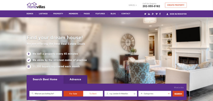 Home Villas Real Estate WordPress Themes