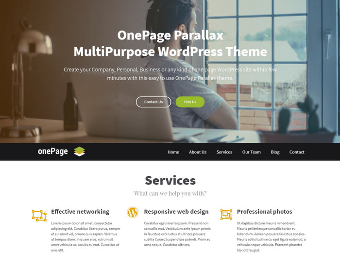 OnePage Parallax Free Single Page Theme