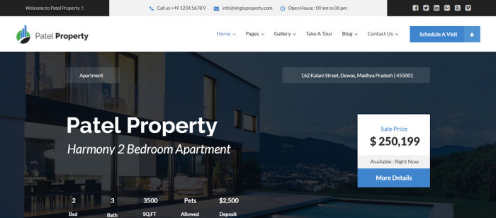 Patel Single Property Real Estate WordPress Theme