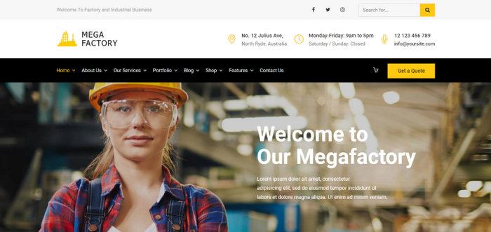 Mega Factory Industrial WordPress Themes