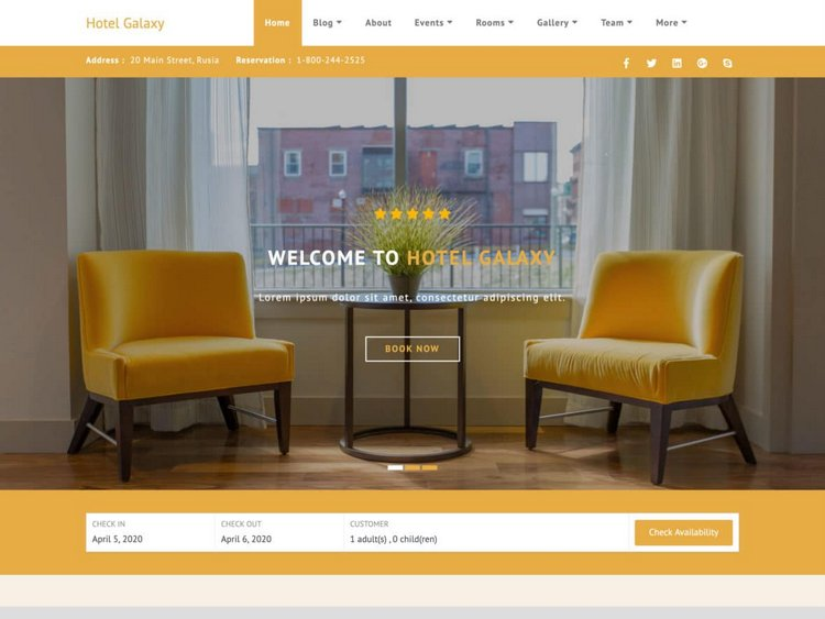 Hotel Galaxy free hotel WordPress theme