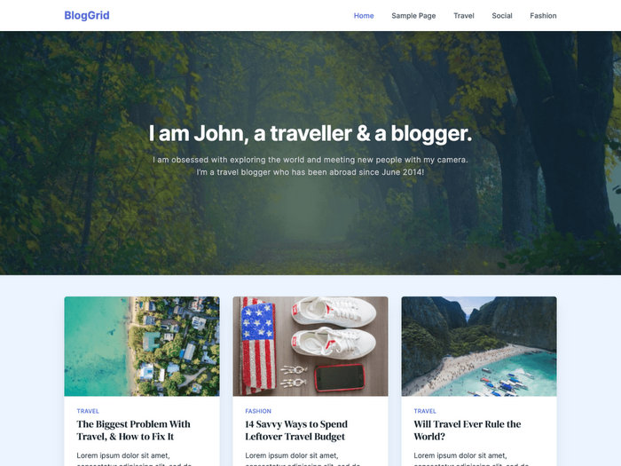 BlogGrid Free WordPress Theme