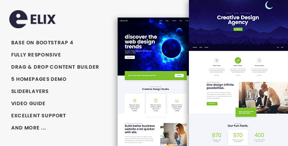 Elix Responsive Multipurpose Business Drupal 8 Theme