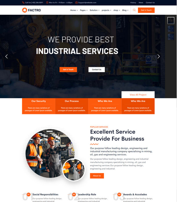 Factro Industrial Factory Business Drupal Theme