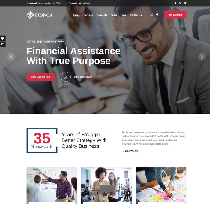 Fionca Business & Finance WordPress Theme