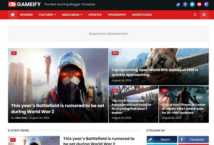 Gameify Free Game Blogger Template
