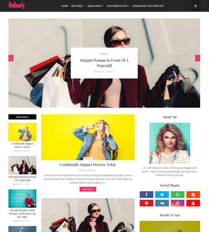 OmBeauty Blogger Template