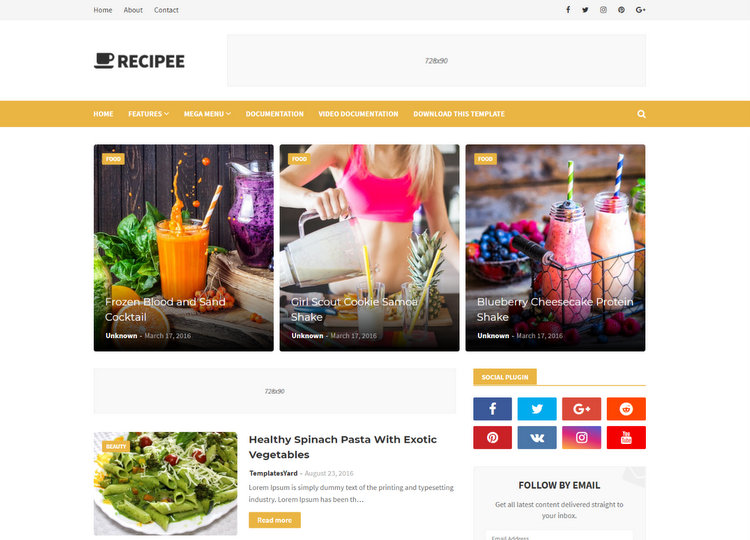 Recipee Magazine Blogger Templates