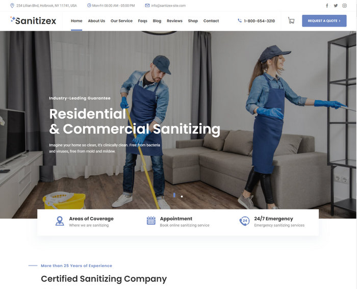 Sanitizex Services WordPress Theme