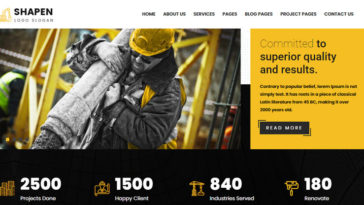 Shapen Construction Business Drupal Themes