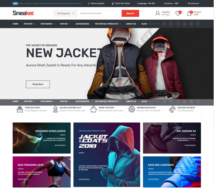 Sneaker Shoes Responsive OpenCart Theme