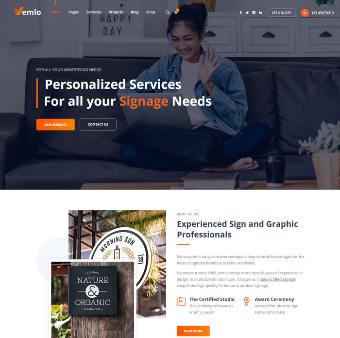 Vemlo Signage Services WordPress Theme
