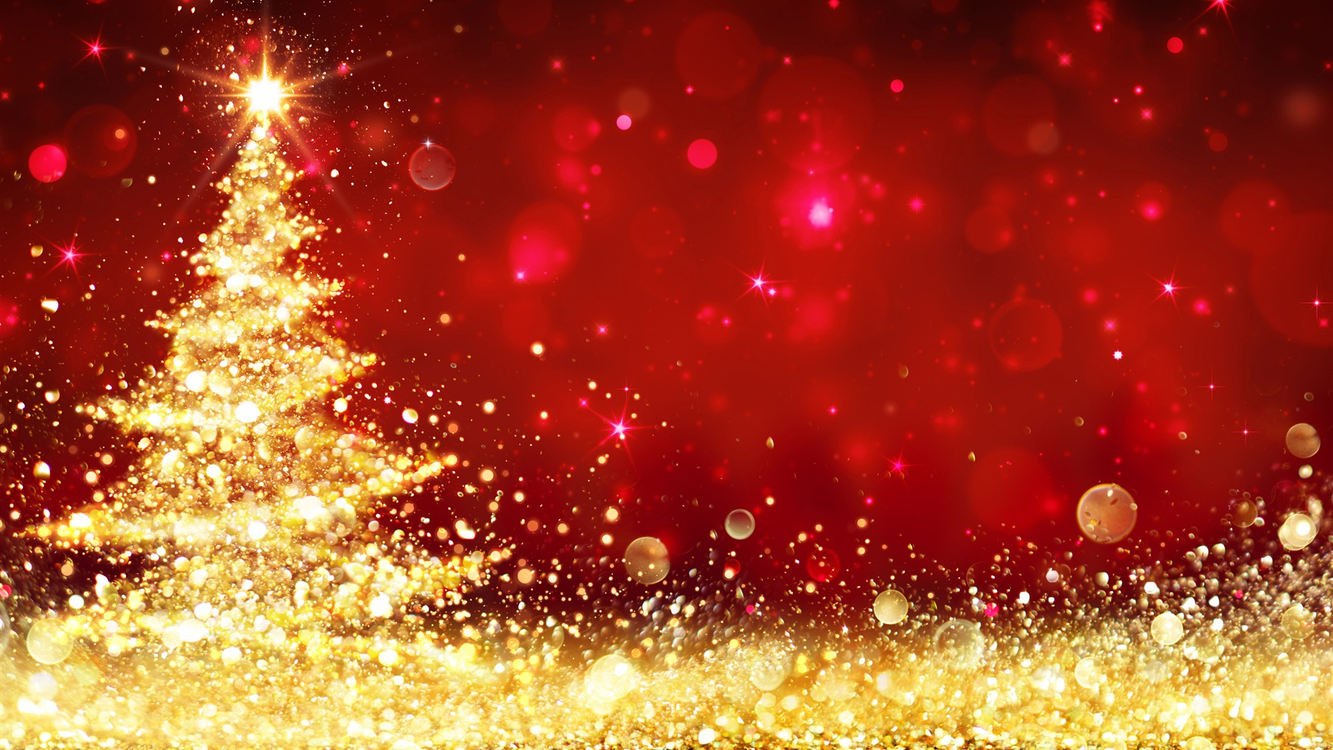 Gold Christmas Tree Red Background Desktop Wallpaper 1920x1080