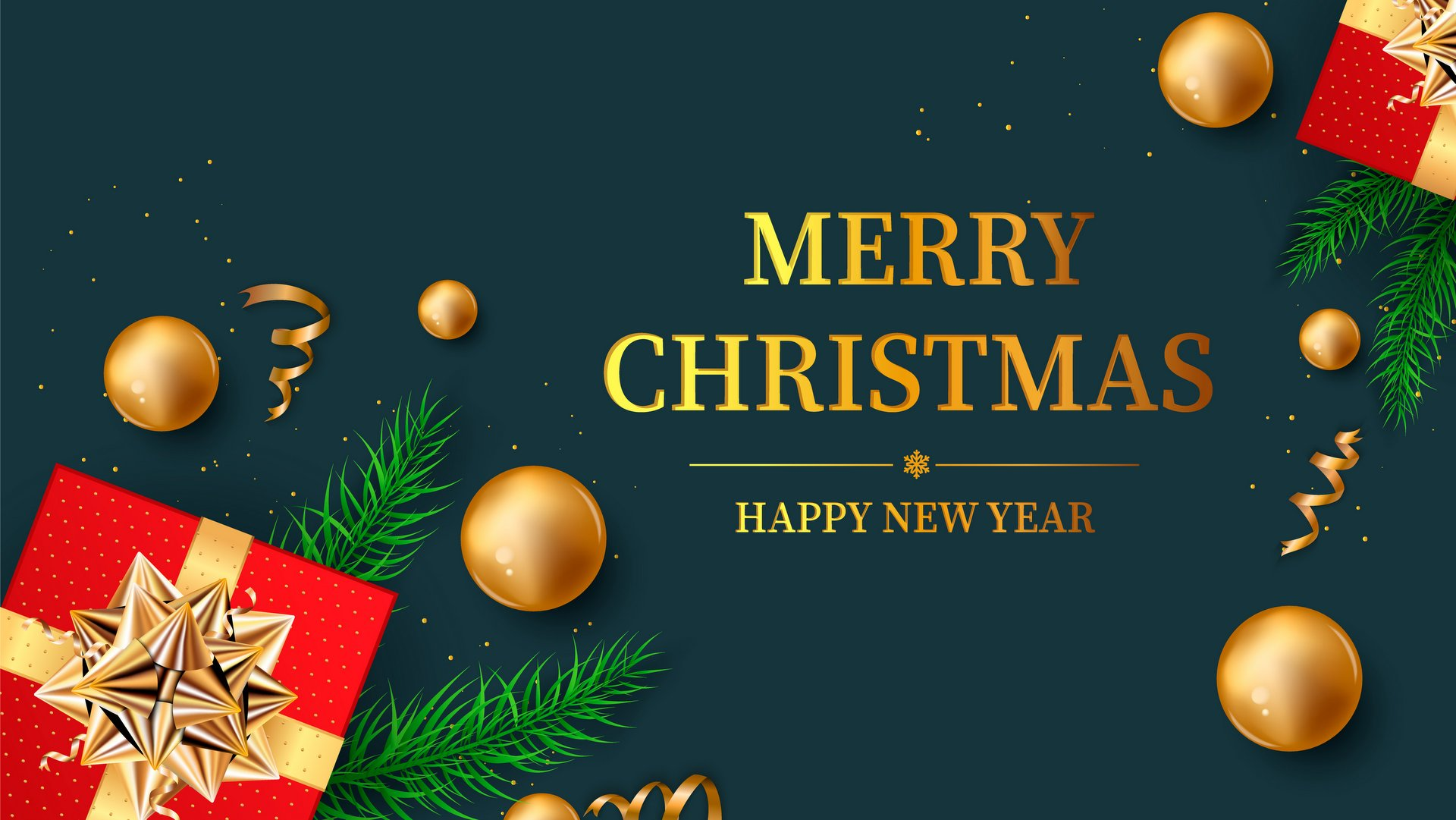 Merry Christmas and Happy New Year HD Wallpaper 1920x1080