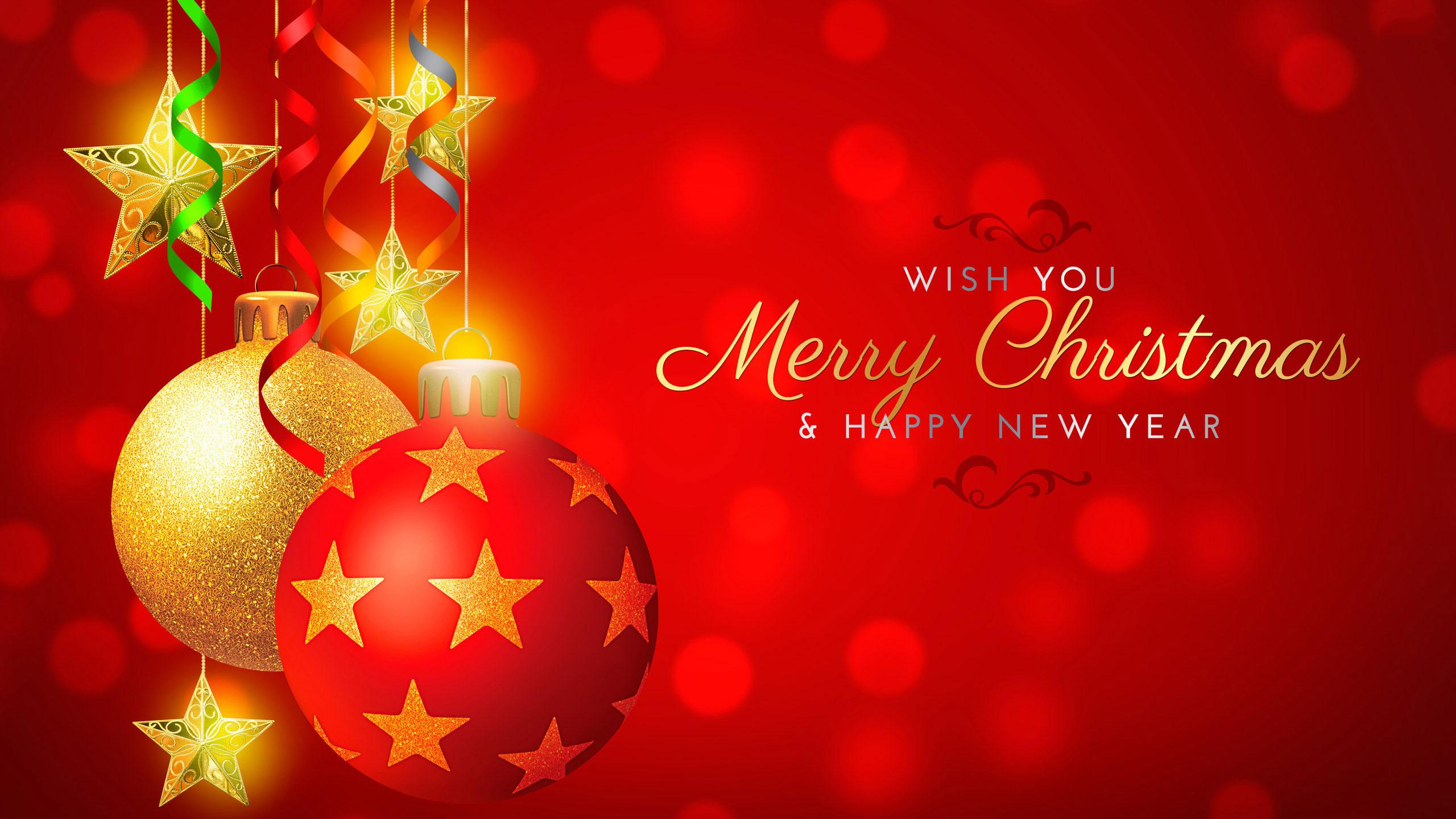 Wish You Merry Christmas and Happy New Year HD Wallpaper 2560x1440