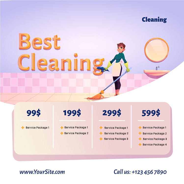 Best cleaning business service website landing page illustration