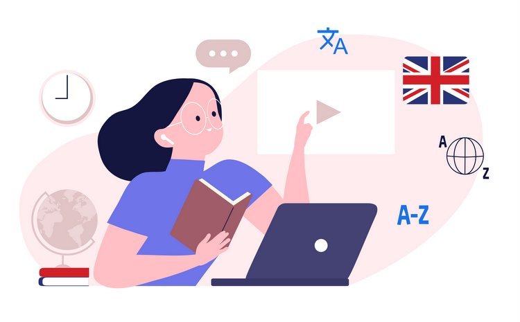 Online language school and courses illustration